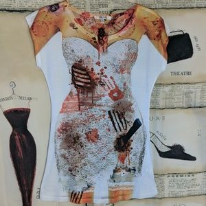 NWOT zombie bride graphic tee / swimsuit cover up